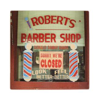 Roberts Barber Shop Wood Coaster