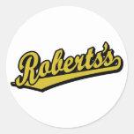 Roberts en oro pegatina redonda