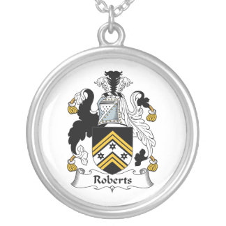 Roberts Family Crest Round Pendant Necklace