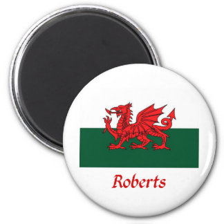 Roberts Welsh Flag 2 Inch Round Magnet