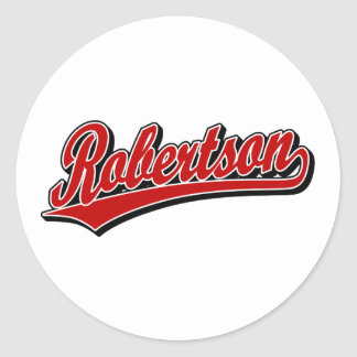 Robertson script logo in red deluxe classic round sticker
