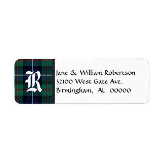 Robertson Tartan Plaid Monogram Address Labels