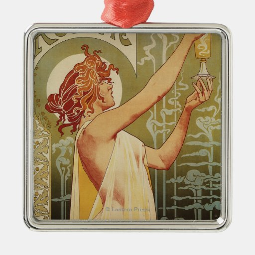 Robette Absinthe Advertisement Poster Square Metal Christmas Ornament