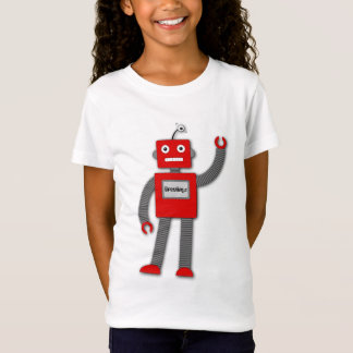 Robi the Retro Robot Girl's Fitted Tee