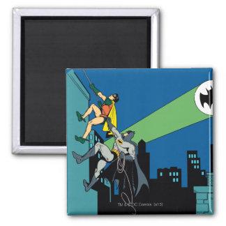 Robin And Batman Climb 2 Inch Square Magnet