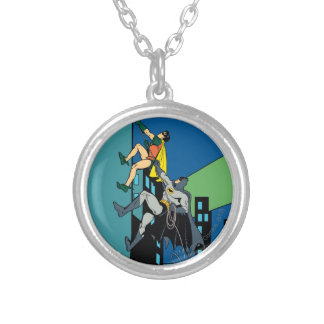 Robin And Batman Climb Silver Plated Necklace