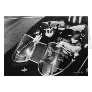 Robin and Batman in Batmobile Card