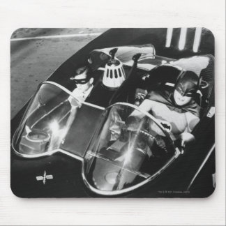 Robin and Batman in Batmobile Mouse Pad