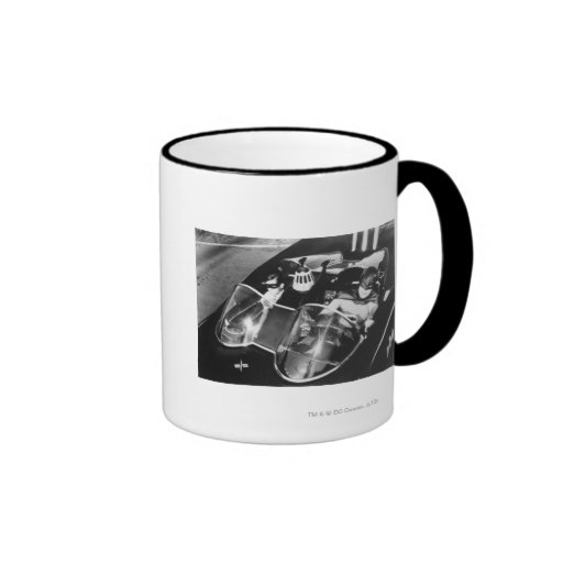Robin and Batman in Batmobile Ringer Coffee Mug