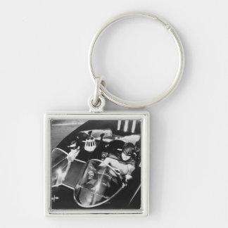 Robin and Batman in Batmobile Silver-Colored Square Keychain