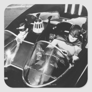 Robin and Batman in Batmobile Stickers