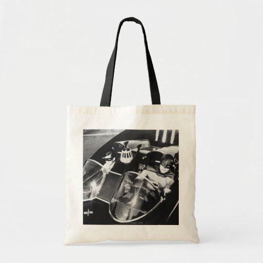 Robin and Batman in Batmobile Tote Bag