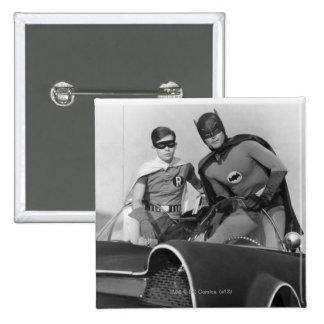 Robin and Batman Standing in Batmobile 2 Inch Square Button