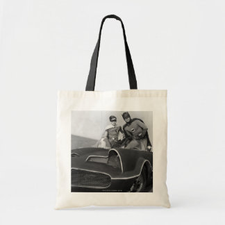 Robin and Batman Standing in Batmobile Canvas Bag