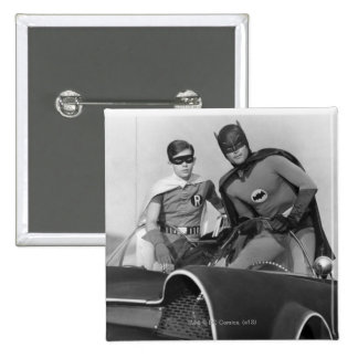 Robin and Batman Standing in Batmobile Button