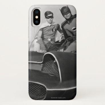 Robin and Batman Standing in Batmobile iPhone X Case