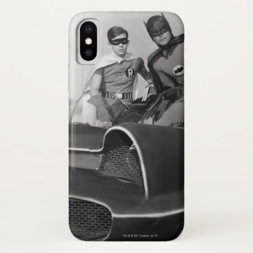 Robin and Batman Standing in Batmobile iPhone X Case