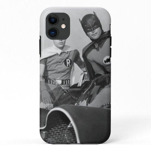 Robin and Batman Standing in Batmobile iPhone 11 Case