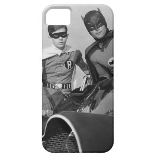 Robin and Batman Standing in Batmobile iPhone SE/5/5s Case