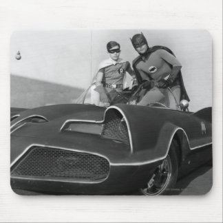 Robin and Batman Standing in Batmobile Mouse Pad