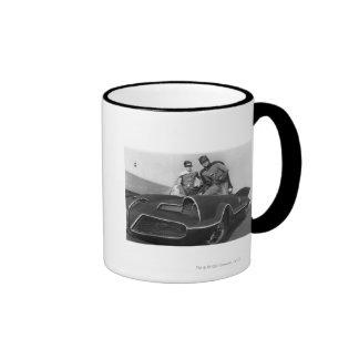 Robin and Batman Standing in Batmobile Coffee Mugs