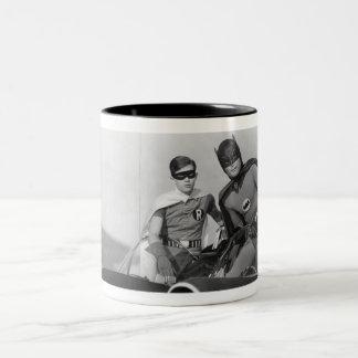 Robin and Batman Standing in Batmobile Two-Tone Coffee Mug
