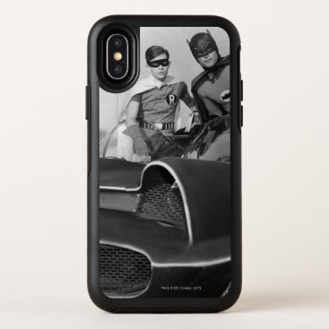 Robin and Batman Standing in Batmobile OtterBox Symmetry iPhone X Case