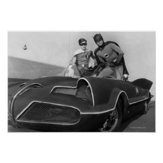 Robin and Batman Standing in Batmobile Poster
