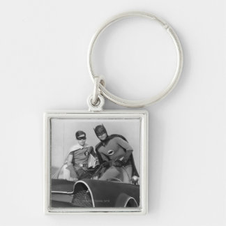 Robin and Batman Standing in Batmobile Silver-Colored Square Keychain