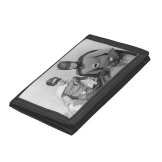 Robin and Batman Standing in Batmobile Tri-fold Wallet