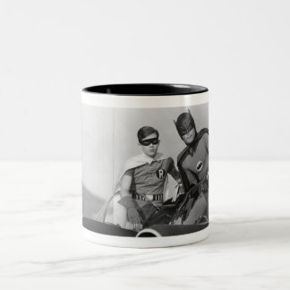 Robin and Batman Standing in Batmobile Two-Tone Coffee Mug
