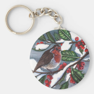 Robin and Berries in Snow Keychain