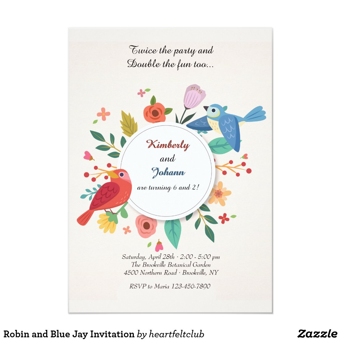 Robin and Blue Jay Invitation