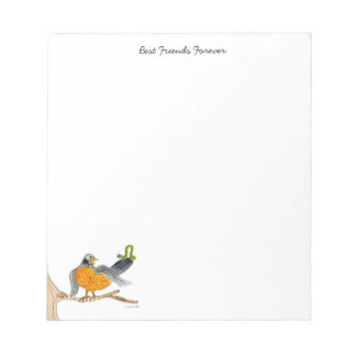 Robin and Green Inch Worm tablet Notepad
