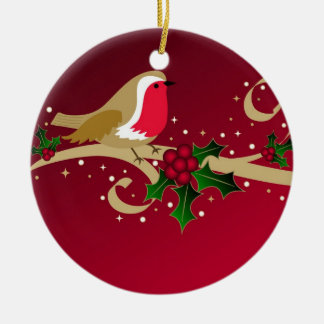 Robin and holly - Ornament