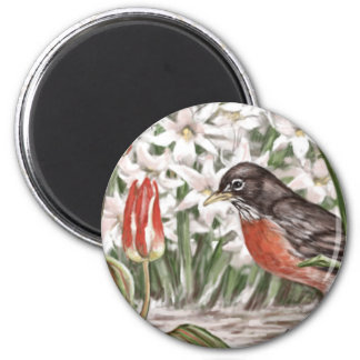Robin and Red Tulips Spring Flowers Painting 2 Inch Round Magnet