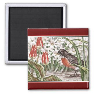 Robin and Red Tulips Spring Flowers Painting 2 Inch Square Magnet