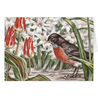 Robin and Red Tulips Spring Flowers Painting Card