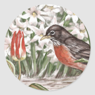 Robin and Red Tulips Spring Flowers Painting Round Sticker