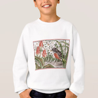 Robin and Red Tulips Spring Flowers Painting Sweatshirt