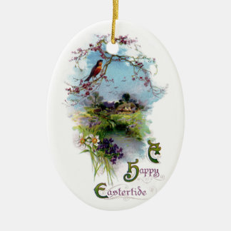 Robin and Spring Flowers Vintage Easter Christmas Tree Ornaments