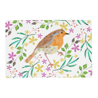Robin bird and Spring flowers Placemat