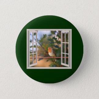 Robin Bird at Window Pinback Button