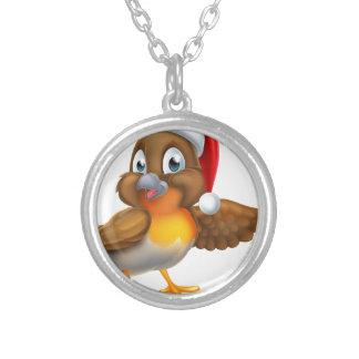 Robin Bird Christmas Cartoon Silver Plated Necklace