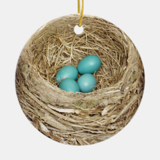 Robin Bird Egg Nest Ceramic Ornament