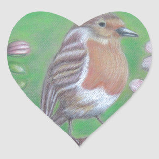 Robin Bird Heart Sticker