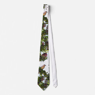 Robin Bird in Berry Tree Tie