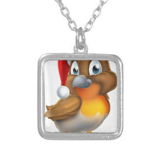 Robin Bird in Santa Christmas Hat Silver Plated Necklace