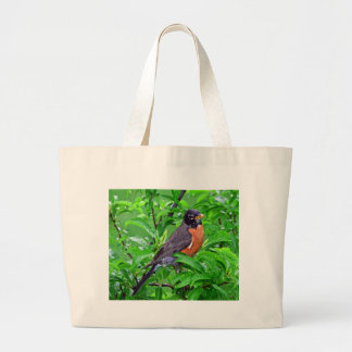 Robin bird in the rain and woods , Robin gif Large Tote Bag