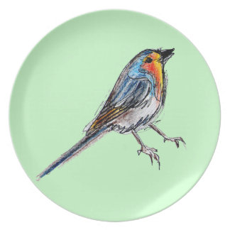 Robin Bird Plate Spring Time